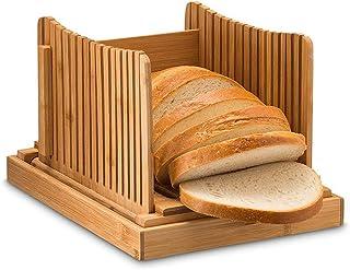 Trancheuse à pain en bambou – Réglable, compact, pliable, guide de tranchage avec ramasse-miettes, 3 épaisseurs réglables ...