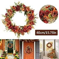 16インチ-フロントドアの装飾のための人工の秋の花輪-手作りのツゲの木のベース-秋、ハロウィーン、感謝祭の日のお祝いに最適正面玄関の壁の窓のパーティーの装飾