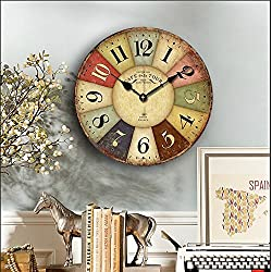 Eruner 14-inch Paris French Style Wood Clock, Rustic French CountryCafe De La Tour Shabby Chic Retro Style Non-Ticking Wooden Wall Clock Kitchen Livingroom Bedroom Decoration(14, 01)