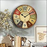 Eruner Vintage Rustic Wall Clock, 16' French Paris StyleCafe De La Tour London Country Non-Ticking Wooden Clock Dial Timer for Home Livingroom Bedroom Office Cafe Bar Decor(16', 01)