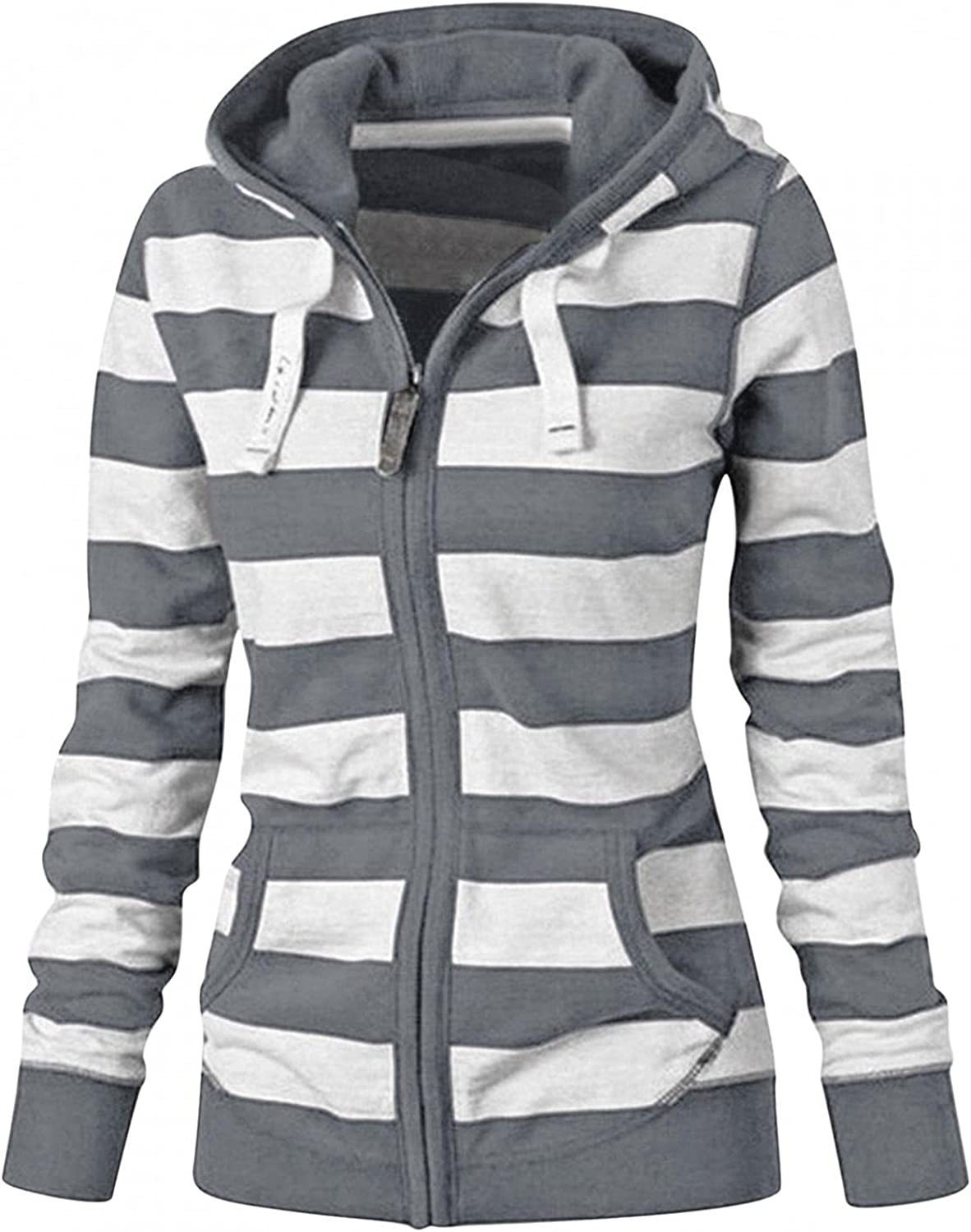 AODONG Hoodies for Women,Long Sleeve Hooded Sweatshirt Zip Up Hoodie Workout Stripes Stitching Blouse Pullover