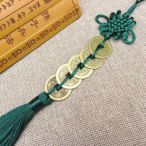 nxychunmei GBND1 Stück von fünf Kaiser Geld Glücksbringer alte Münzen rot chinesische Knotensammlung Geschenk Kupfermünze Schlüsselanhänger viel Glück Hauptdekoration dunkelgrün