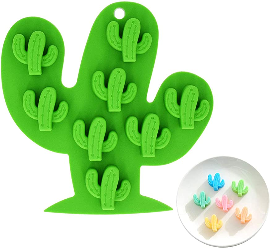 Fewo 8 Cavity Small Size Cactus Ice Cube Tray Food Grade Silicone Mold For Chocolate Candy Cookie Fondant Jello Mini Soap Baking Bath Bomb Candle