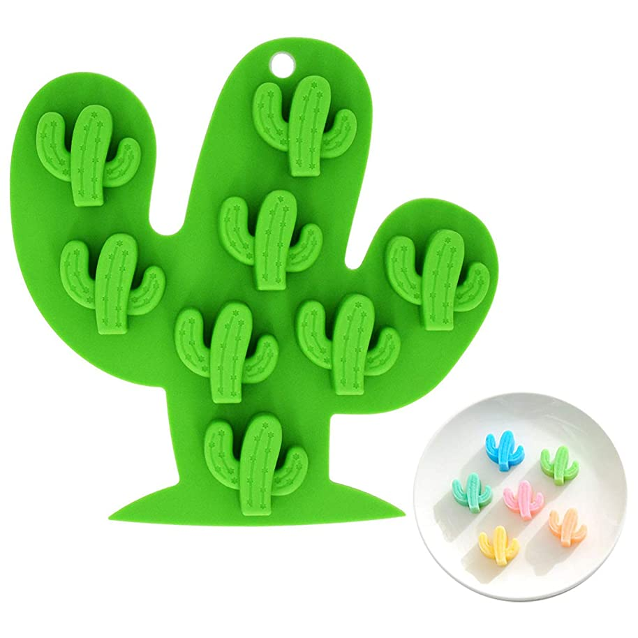 Fewo 8-Cavity Small Size Cactus Ice Cube Tray, Food-grade Silicone Mold for Chocolate, Candy, Cookie, Fondant, Jello, Mini Soap, Baking, Bath Bomb, Candle