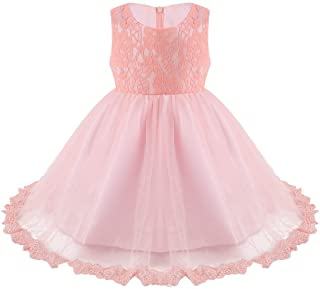 JEATHA Infant Baby Girls Lace Floral Flower Girls Dress with Bowknot Back Baptism Banquet Birthday Party Ball Gown