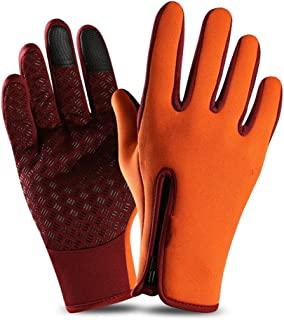 LJJOO Touch Screen Gloves Outdoor Riding Gloves Zipper Sports Warm Plus Velvet Mountaineering Ski Gloves (Color : Orange, Size : L)