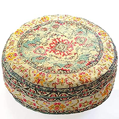 Mandala Life ART Bohemian Yoga Decor Floor Cushion Cover - 24x8 inches - Round Meditation Carpet Pillow Case - Printed Cotton Rug Pouf