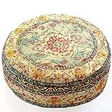 Mandala Life ART Funda de cojín de Piso Bohemian Rug - Redonda 60x20 cm - Puf de decoración de habitación Artesanal meditación, Yoga y Boho Chic Funda de Almohada de Piso para Asientos