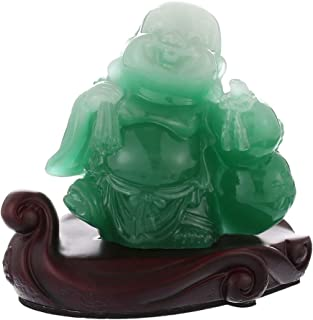 Prime Feng Shui Resin Laughing Buddha Statue Hold Money Bag and Hulu Bring Wealth and Prosperity Car Ornaments Home Office Decoration(Green)