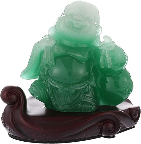 Prime Feng Shui Resin Laughing Buddha Statue Hold Money Bag And Hulu Bring Wealth And Prosperity Car Ornaments Home Office Decoration Green