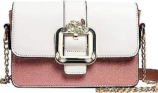 ETH Women's Chain Small Square Bag Diamond Lock PU Handbag Color Matching Soft Leather Messenger Bag Crossbody Bag Shoulder Bag Permanent (Color : Pink)