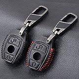 RFGOO Car Key Cover, para Mercedes-Benz AMG A180 A200 A260 A CLA Class Leather Car Key Cover Set Fit Case 2 Botones Llavero Black Line