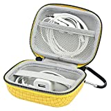 Headphone Ear Bud Earphone Headset Case Small Storage Organizer Carrying Pouch Bag with Carabiners for Bluetooth Wireless Headphones - Charger - Cable - USB Flash Driver (Large Yellow)