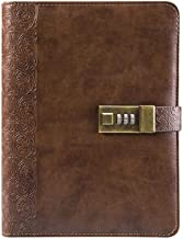 Lock Diary Digital Password Notebook Paper Refillable Inner Pages Leather Binder Notebook Retro Privacy Combination Locking Journal by CAGIE,Brown