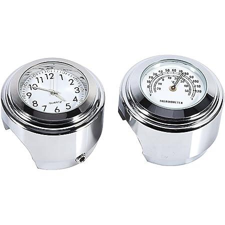 Yooap Universal Motorrad Lenker Uhr Thermometer 7 8 Zoll Wasserdicht Für Kawasaki Honda Suzuki Harley Davidson Schwarz Uhr Thermometer Auto