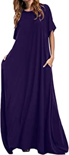 Women's Loose Maxi Dress Short Sleeve Casual Kaftan Party Long Dresses Plain Solid with Pockets