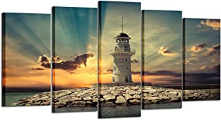 Kreative Arts - Large 5 Pieces Canvas Prints Wall Art Beautiful Landscape Lighthouse at Sunset Pictures Modern Home Decor Stretched Gallery Wrap Giclee Print Ready to Hang (Medium Size 40x24inch)