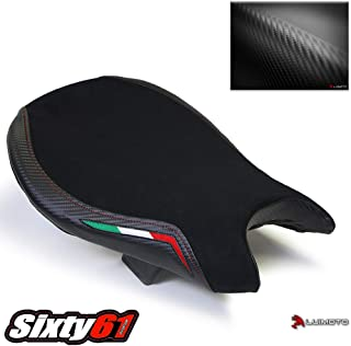 Luimoto Seat Cover for Ducati Streetfighter 2009-2015 Black and Red Stitch, Carbon Look and Suede, Front by Sixty61