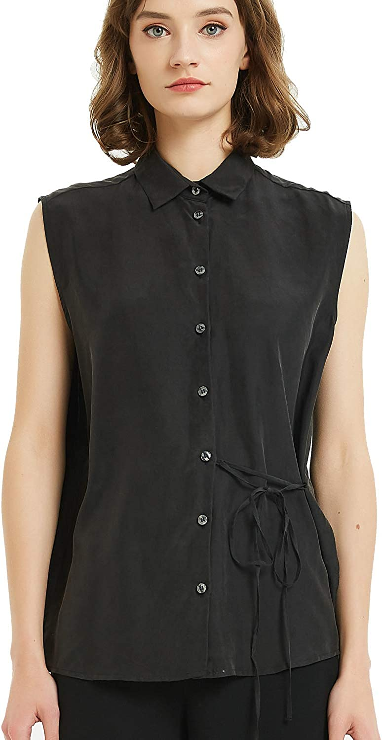 Women's 100% Silk V-Neck Sleeveless Button Down Blouse Ladies Office Work with Deco Belt Shirts Tops
