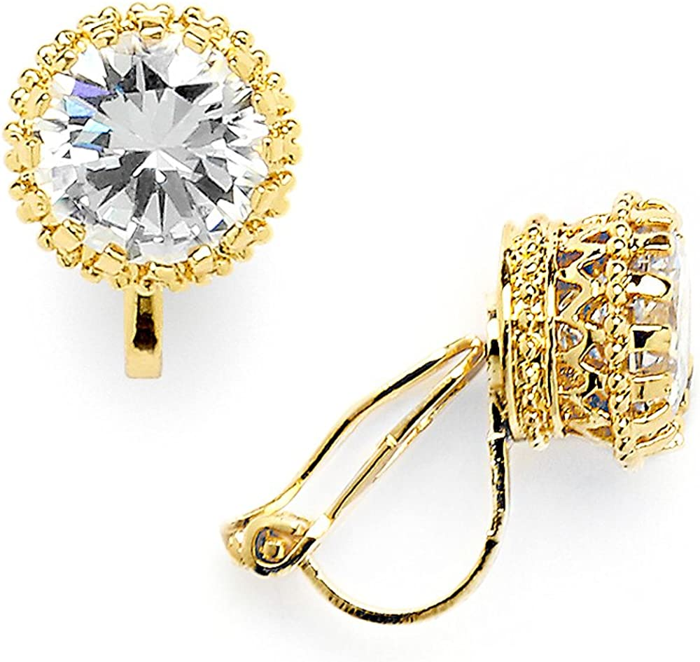 Mariell 14K Gold Plated Crown Setting Clip-On Cubic Zirconia Stud Earrings - Regal 2 Ct. Round Solitaire