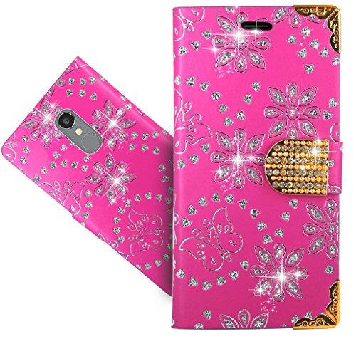 BLU VIVO 5R Case, FoneExpert Bling Diamond Butterfly Flowers Leather Kickstand Flip Wallet Bag Case Cover for BLU VIVO 5R