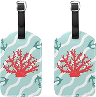 MASSIKOA Ocean Corals and Anchors Cruise Luggage Tags Suitcase Labels Bag,2 Pack