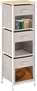 mDesign Vertical Furniture Storage Tower - Sturdy Steel Frame, Easy Pull Fabric Bins - Organizer Unit for Bedroom, Hallway, Entryway, Closets - Clear Front Windows - 3 Drawers - Linen/Tan