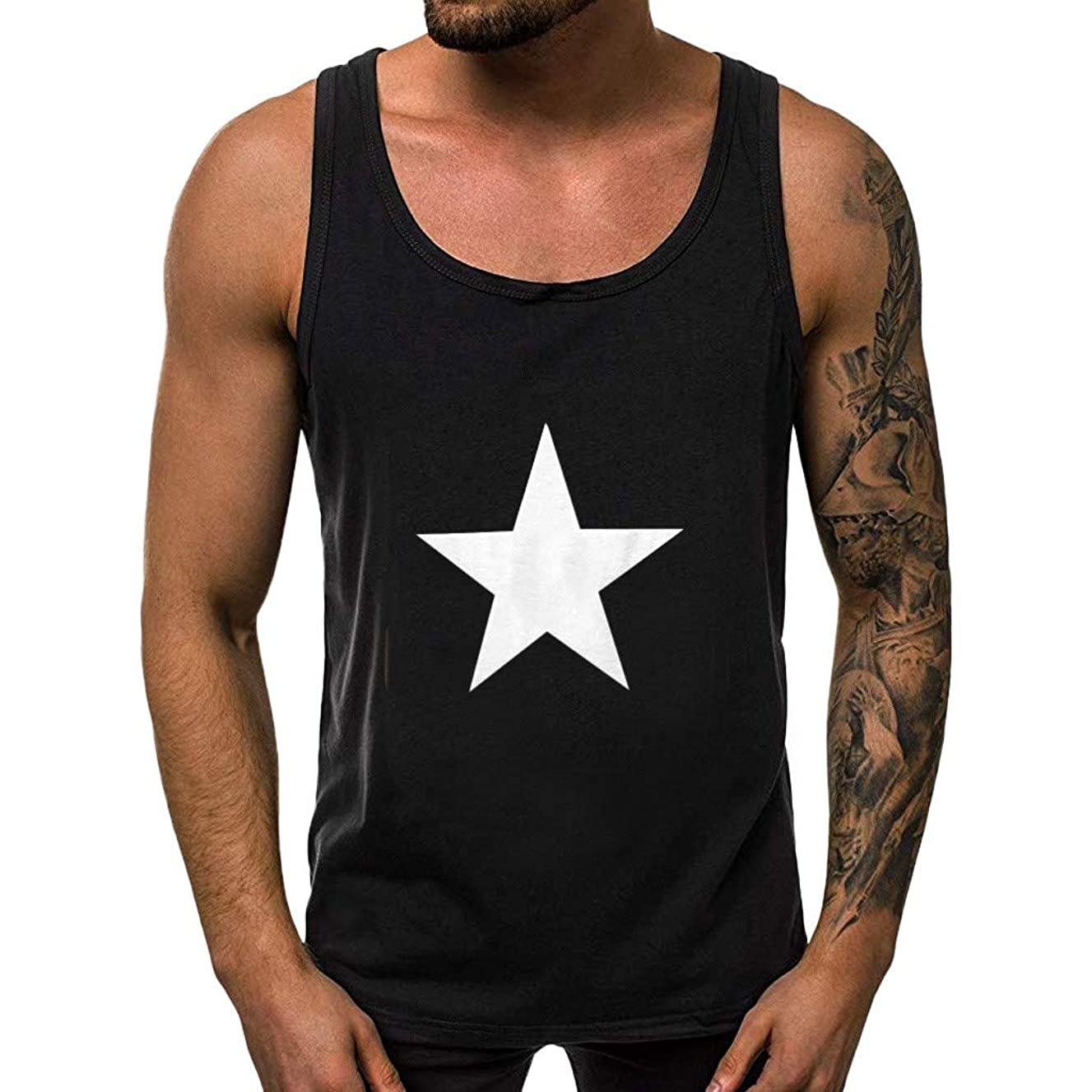 Summer Shirts for Men, SFE Men Fitness Muscle Star Print Sleeveless Bodybuilding Vest Tops Blouses Fashion Casual