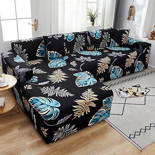 WXQY Fundas con Estampado Floral Estiramiento elástico Funda de sofá Antideslizante Funda de sofá para Mascotas Esquina en Forma de L Funda de sofá Antideslizante A27 2 plazas