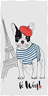 Naanle Chic Cute French Bulldog with Eiffel Tower Soft Highly Absorbent Large Decorative Hand Towels Multipurpose for Bathroom, Hotel, Gym and Spa (16