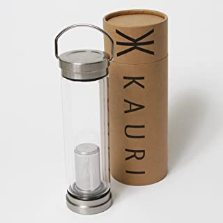 Kauri Double Wall Glass Water Bottle with Stainless Steel Cap - 21 Ounces by Bold Home Products