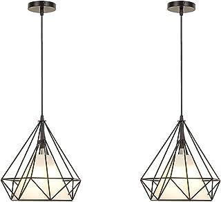 1/2PCS, lampara techo vintage, Iluminación colgante, Adecuado para bombillas E27, Longitud del cable ajustable (máximo 100 cm) (2PCS)