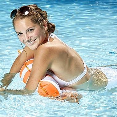 Aqua Monterey 4-in-1 Multi-Purpose Inflatable Hammock (Saddle, Lounge Chair, Hammock, Drifter) Portable Pool Float, Orange
