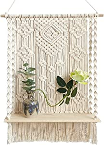 SOUJOY Macrame Wall Hanging Shelf, Handmade Wood Boho Rope Plant Pot Basket Hanger Holder, Cotton Rope Plant Hanger for Home Wall Decor