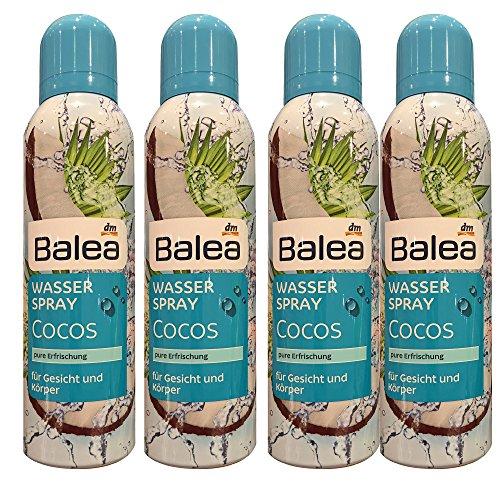 Balea Wasserspray Cocos für Gesicht und Körper 4er Pack (4 x 150ml Sprayflasche)