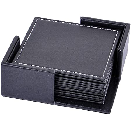 Set of 6 LARGE CLASSIC BLACK Square Leather COASTERS Mug Drinks Mats MADE IN UK