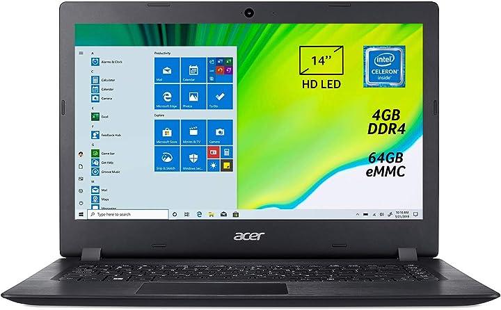 Computer acer aspire 1 a114-32-c2a6 notebook con processore intel celeron n4020, ram 4 gb ddr4,