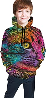 Cyloten Kid's Sweatshirt Oil Painting Abstract Colored Cat Novelty Hoodies Comfortable Warm Hooded Top Sweatshirt