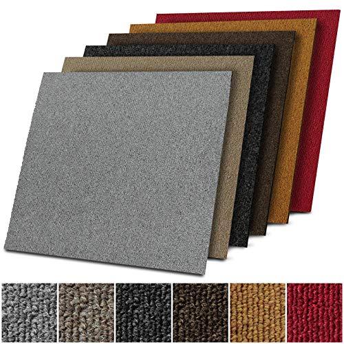 1 m² Teppichfliesen selbstliegend Lyon für Büro & Gewerbe - Fliesen Teppiche je 50x50 cm - robuster Teppichboden - Bodenfliesen mit rutschhemmendem Vinyl-Rücken (Dunkelgrau, 4 Stück)