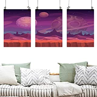 Pattern Oil Painting Art Fantasy Purple Alien Fantastic Dreamy Landscape with Craters and Planets in Distance Artwork for Home Decoration Wall Decor 3 Panels 24x47inchx3pcs Purple Vermilion