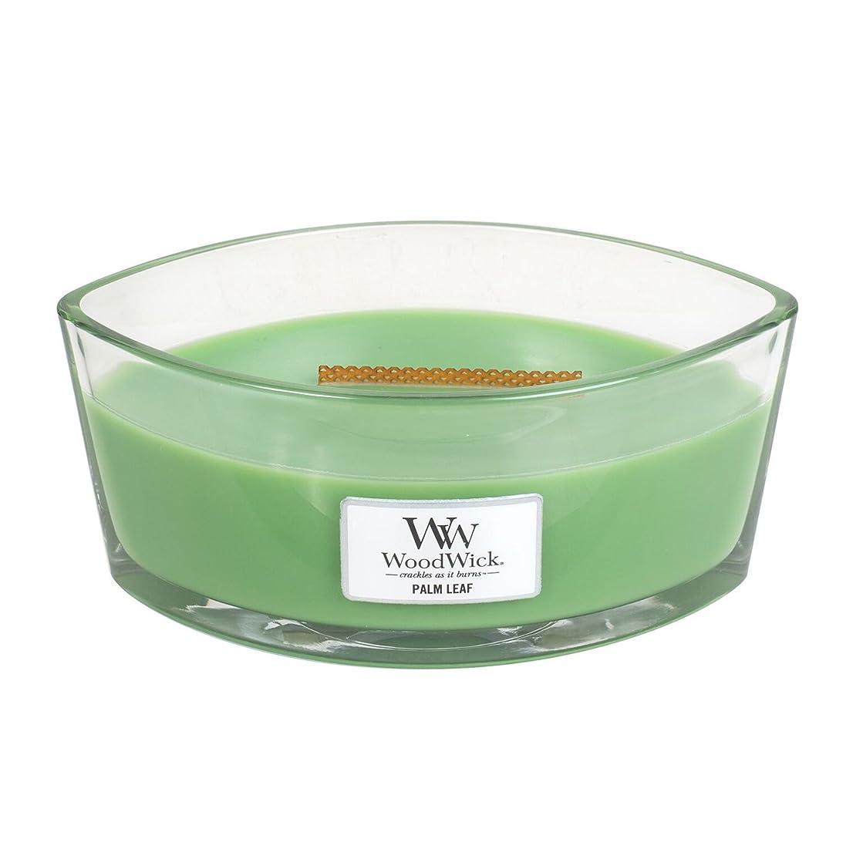 彼ら呼ぶ本物のWoodwick Palm Leaf , Highly Scented Candle、楕円ガラスJar with元HearthWick Flame , Large 7-inch、16オンス