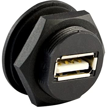 ASI ASICPICUSB2.0AS USB 2.0 Type A Panel Mount Waterproof Connector, Shielded, Front Mount, Female to 4-Pin, IP67, NEMA 6 and 6P