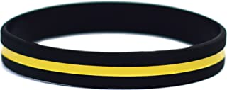 Thin Yellow Line Silicone Wristband Bracelets Awareness Support