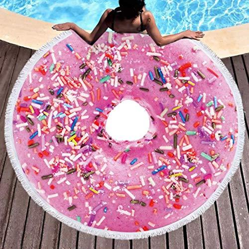 GermYan Kawaii Donut Postre Dulces Alimentos Toalla de baño de Playa Manta de mar Redonda Impresión Digital Alfombra de Yoga Junto al mar Estera de Picnic