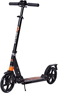 Goplus Folding Kick Scooter for Adult Teen Deluxe Aluminum 2 Big Wheels Glider Adjustable Height w/ Dual Suspension, 220lbs Capacity, Black
