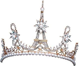 Afco Womens Crown Eiffel Tower Rhinestone Royal Bridal Tiara Jewelry For Wedding Party