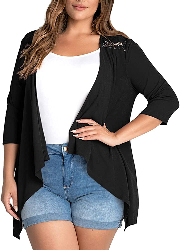 Genayge Women's Plus Size Cover Up Open Front Lace Shoulder 3/4 Sleeve Draped Cardigan Outwear