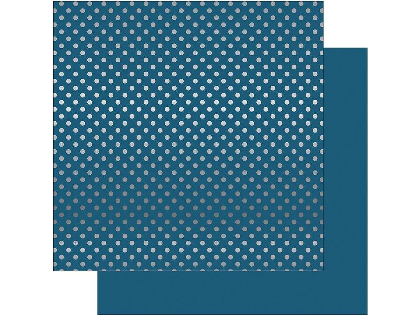 Echo Park Paper Company DS Dots&Stripes SlvrFoil Paper 12x12 Med Bl