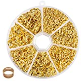 BEADNOVA Open Jump Rings Gold Plated with Jump Ring Opener for Jewelry Making and Keychains (3mm 4mm 5mm 6mm 7mm 8mm 10mm Mix Box Set)