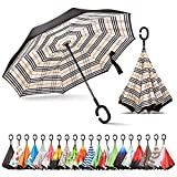 Sumeber Paraguas invertido de doble capa con asa en forma de C y paraguas plegable con bolsa de transporte diseño de cuadros plaid
